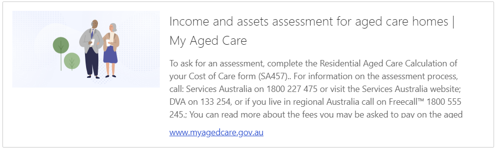 Income and assets assessment for aged care homes